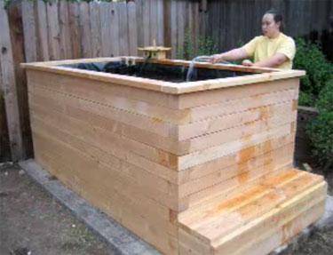 A wooden koi pond for Wooden koi pool